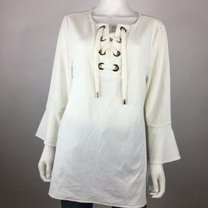 Charter Club Size XL Cloud Tunic Lace-Up BLouse